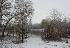 Winterlandschaft - ein Fluss mit der Vegetation umfasst mit Schnee Stockbilder