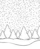 Winterlandschaft für Malbuchseitenvektor Stockfoto