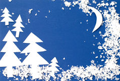 Winterlandschaft geschnitzt aus Papier heraus Lizenzfreies Stockfoto
