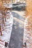 Winterlandschaft im Sonnenlicht, Weg für Wege im Park zwischen den Bäumen der Kiefer und schießend Lärche, von einer Höhe, Stockfotos