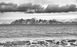 Winterlandschaft in Lofoten-Archipel stockbild