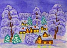 Winterlandschaft, malend Stockfotos