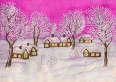 Winterlandschaft, malend Lizenzfreie Stockfotos