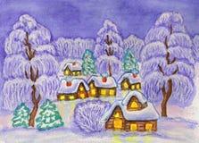 Winterlandschaft, malend Stockfotografie