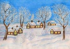 Winterlandschaft, malend Stockbild
