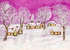 Winterlandschaft, malend Lizenzfreies Stockfoto