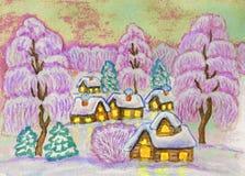 Winterlandschaft, malend Stockfoto