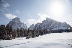 Winterlandschaft mit atemberaubenden Bergen Lizenzfreie Stockfotos