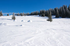 Winterlandschaft mit blauem Himmel Stockfotografie