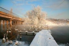 Winterlandschaft mit der Brücke stockfotos