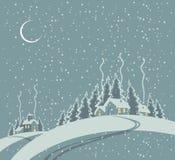 Winterlandschaft mit Dorf stock abbildung