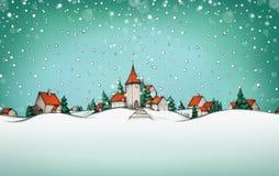 Winterlandschaft mit Dorf und Schnee im Hintergrund lizenzfreie abbildung