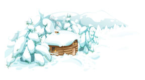 Winterlandschaft mit einem Haus Stockfoto