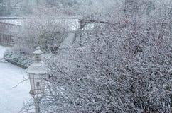 Winterlandschaft mit einer Laterne und schneebedeckten Niederlassungen Stockbild