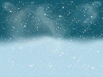 Winterlandschaft mit fallendem weißem Schnee lizenzfreie abbildung