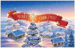 Winterlandschaft mit festlich verziertem Weihnachtsbaum und Band lizenzfreie abbildung