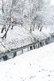 Winterlandschaft mit Fluss Stockfoto