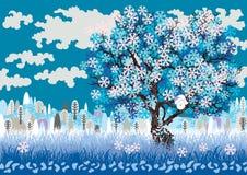 Winterlandschaft mit gefrorenem Baum Stockfotos