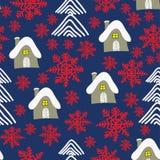 Winterlandschaft mit Häuschen, roten sowflakes und Weihnachtsbäumen Abstraktes Hintergrundmuster der weißen Sterne auf dunkelrote vektor abbildung