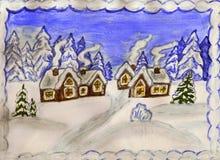 Winterlandschaft mit Häusern Lizenzfreie Stockfotos