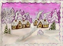 Winterlandschaft mit Häusern Lizenzfreies Stockfoto