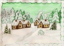 Winterlandschaft mit Häusern Stockfotografie