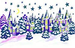 Winterlandschaft mit Häusern in den blauen Farben Lizenzfreies Stockfoto