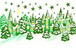 Winterlandschaft mit Häusern in den grünen Farben Stockfotografie
