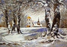 Winterlandschaft mit Kirche Lizenzfreies Stockfoto
