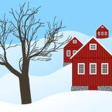 Winterlandschaft mit roten Landhäusern lizenzfreie abbildung