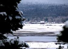 Winterlandschaft mit Scheune, Bergstadt und schneebedeckten Bäumen Stockbild