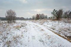 Winterlandschaft mit Schnee bedeckte Landschaft Stockbild