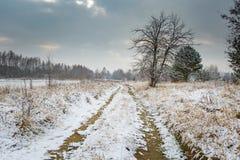 Winterlandschaft mit Schnee bedeckte Landschaft Lizenzfreie Stockfotos