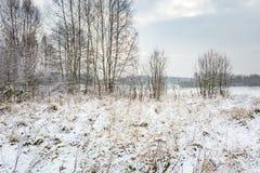 Winterlandschaft mit Schnee bedeckte Landschaft Stockfotografie