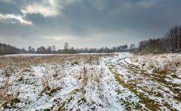 Winterlandschaft mit Schnee bedeckte Landschaft Stockfoto
