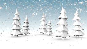 Winterlandschaft mit Schneefällen stock video
