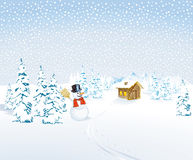 Winterlandschaft mit Schneemann Stockbild