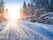 Winterlandschaft mit Sonnenstrahlen, Wald und Straße Stockbild