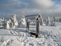 Winterlandschaft mit Zeichen Stockbild