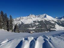 Winterlandschaft nahe Gstaad, die Schweiz Schnee deckte Berg ab Stockfotografie
