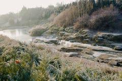 Winterlandschaft am sonnigen Tag Stockfotografie