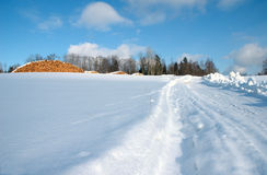 Winterlandschaft und -brennholz Stockfotos