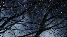 Winterlandschaft und fallender Schnee stock abbildung