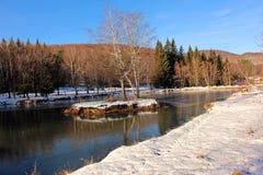 Winterlandschaft am vollen Tag Lizenzfreies Stockfoto