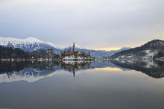 Winterlandschaft von Bled See Lizenzfreies Stockfoto