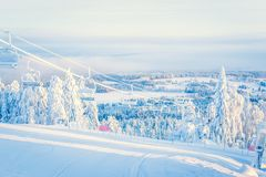 Winterlandschaft von Sotkamo, Finnland lizenzfreie stockbilder
