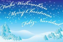Winterlandschaftblau mit Text Stockfotos