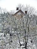 Winterlandschaftsbäume mit Haus im Hintergrund in der Schmutzart Lizenzfreies Stockbild