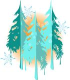 Winterlandschaftshintergrund mit netten Schneeflocken und Bäume silhouettieren lizenzfreie abbildung