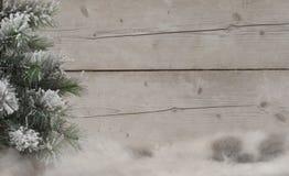 Winterlandschaftshintergrund, mit Schaffell, schneebedecktem Baum und verwittertem hölzernem Hintergrund Stockfotografie